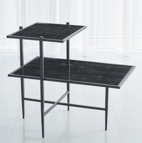 Bel Air Tiered End Table-Black/Black Mosaic
