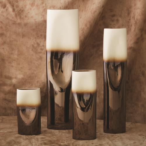 Pinch Vase - Bronze and Cream