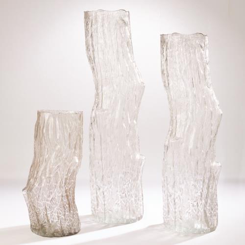 Faux Bois Glass Vase-Light Brown