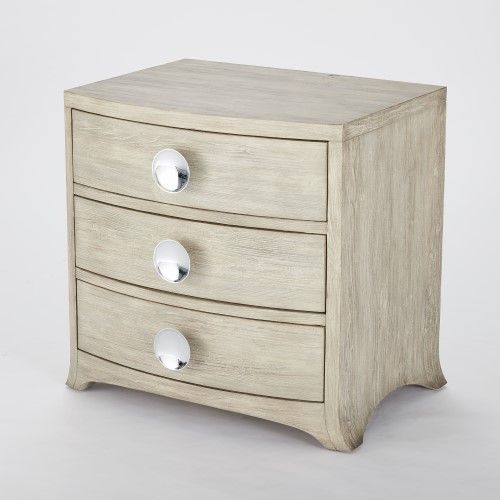 Bow Front 3 Drawer Chest-Grey
