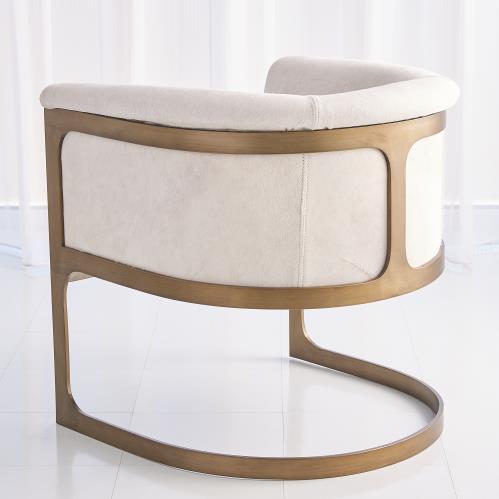 Regan Barrel Chair w/Ivory Hair-on-Hide-Antique Brass