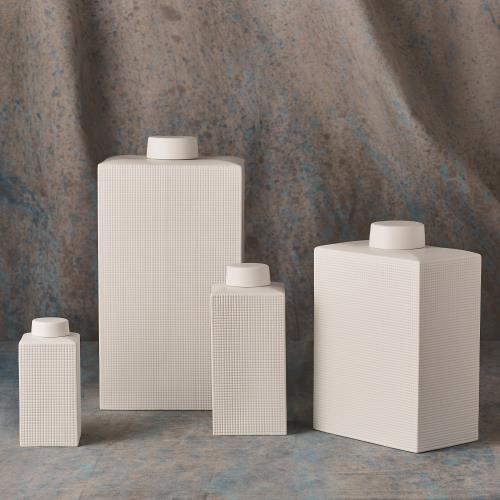 Grid Texture Jar-White