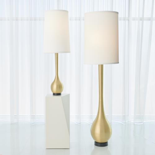 Bulb Vase Lamps-Antique Brass