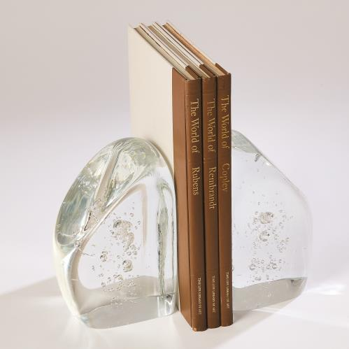 Chunk Bookends-Clear w/Bubbles