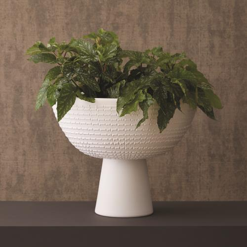 Florentine Footed Bowl - Matte White