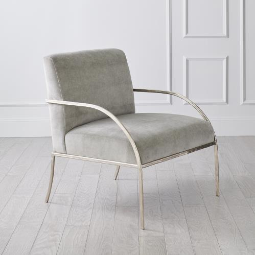 Swoop Chair-Grey Velvet-Nickel