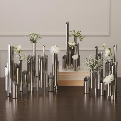 Multi Pipe Vase-Nickel