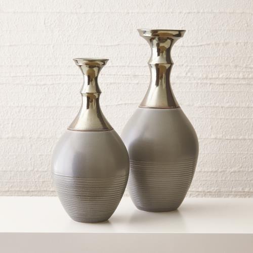 Bassano Vase-Grey/Bronze