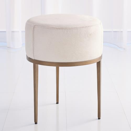 Urban Stool w/Ivory Hair-on-Hide-Antique Brass