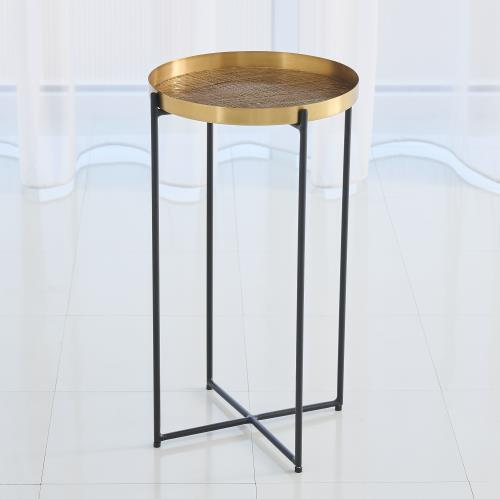 Plaid Etched Accent Table-Antique Brass
