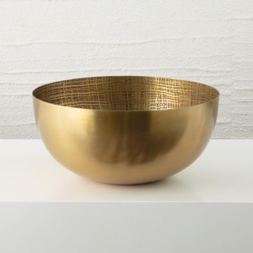 Plaid Etched Bowl-Antique Brass