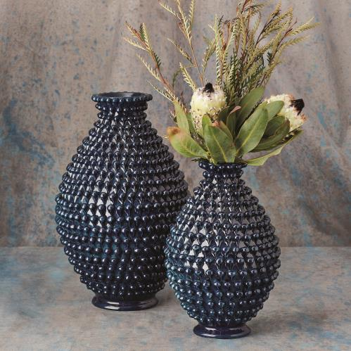 Pinecone Vase-Cobalt