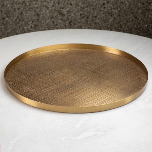 Plaid Etched Tray-Antique Brass