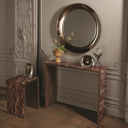 Waterfall Console-Cherry Gold Marble/Bronze