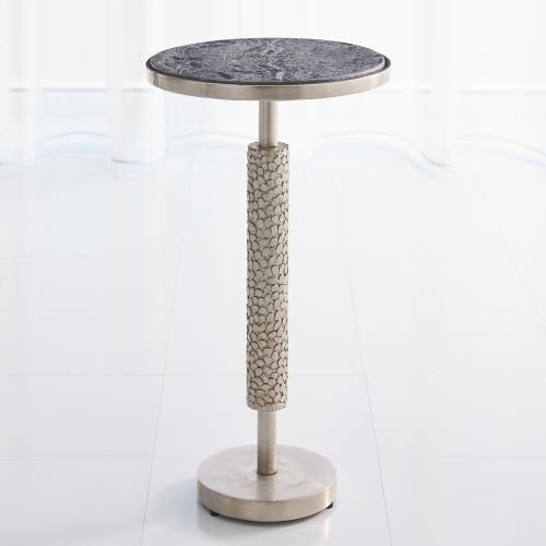 Hammered Martini Table-Antique Nickel w/Grey Marble