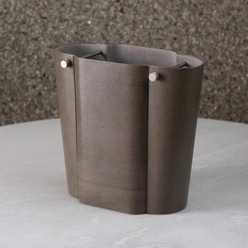 Serpentine Wastebasket-Grey Pebble