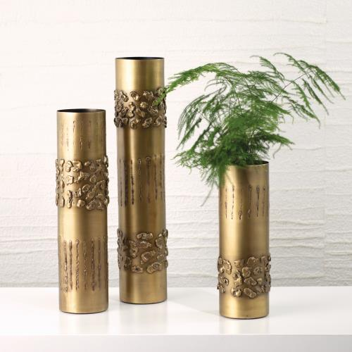 Textural Band Vases-Antique Brass