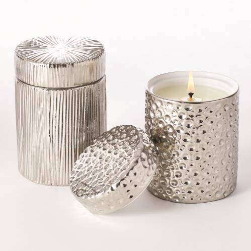 Ocean/Moonscape Jar Candles-Sandalwood Teak-Silver