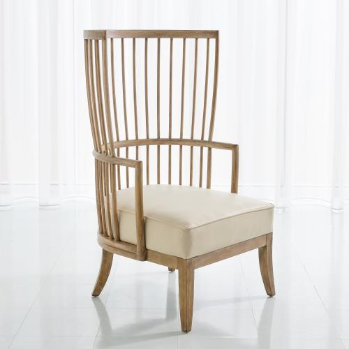 Spindle Wing Chair-Beige Leather