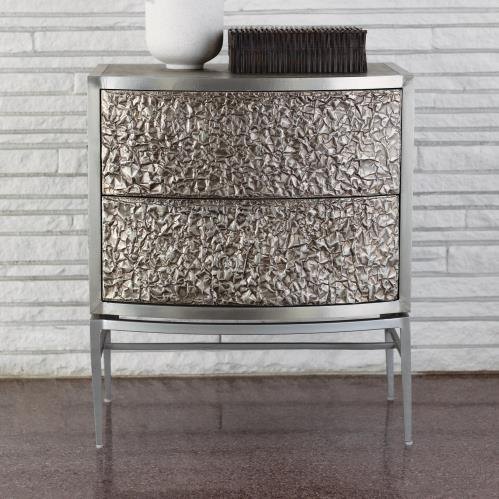 Crinkle Bedside Chest-Nickel/Antique Nickel