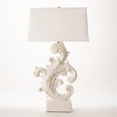 Dorothy Acanthus Lamp-French White Plaster