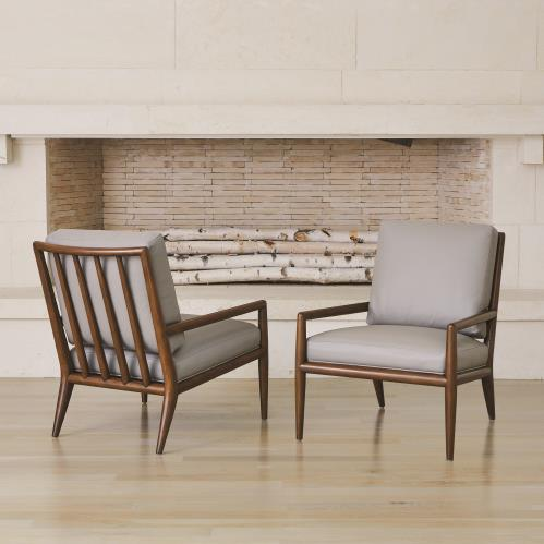 Lucas Lounge Chair-Grey Leather