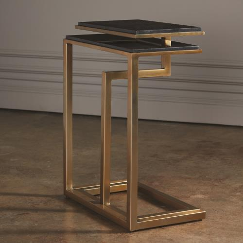 Set of 2-C Nesting Tables-Brass