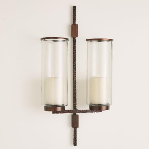 Hammered Double Sconce - Bronze