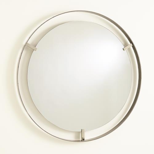 Floating Mirror-Nickel Clips-Natural Iron Rim