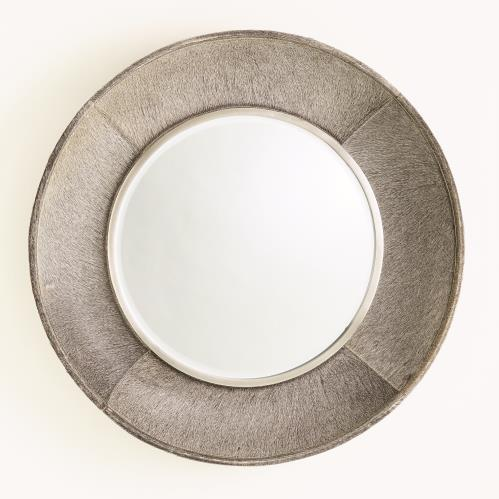 Metro Round Mirror - Grey Hair-on-Hide