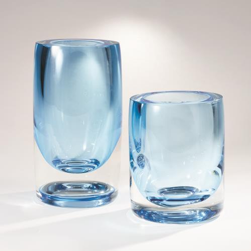Thick Cylinder Vases - Powder Blue/Light Blue
