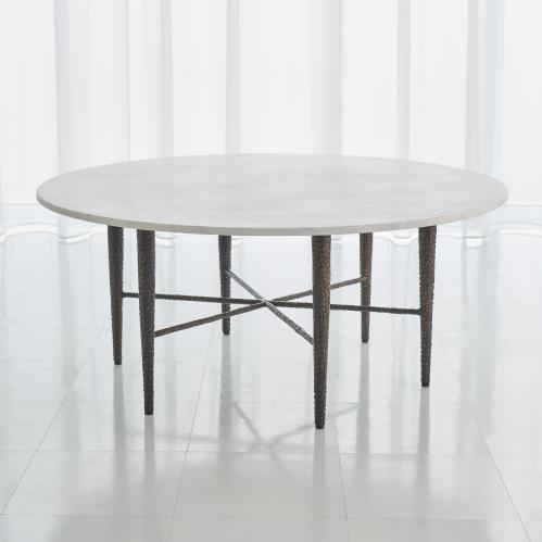 Hammered Cocktail Table - Bronze w/White Marble