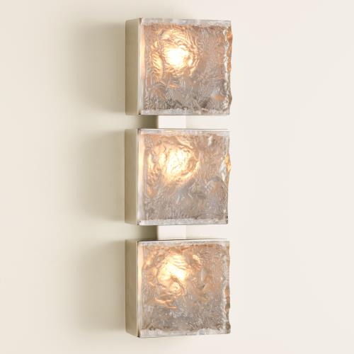 Triple Cube Sconce - Satin Nickel-HW