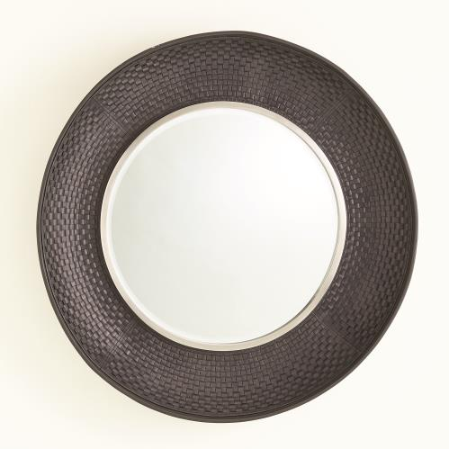 Milan Round Mirror - Charcoal Leather