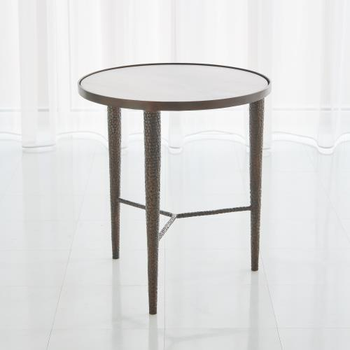 Hammered End Table - Bronze w/White Marble