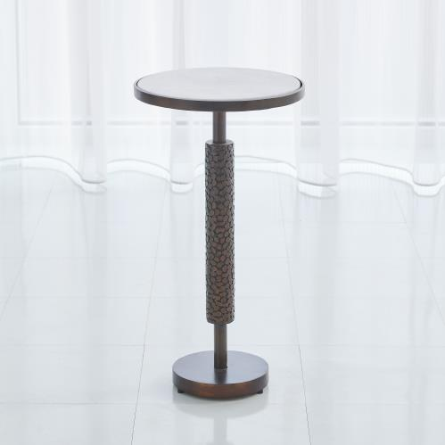 Hammered Martini Table - Bronze w/White Marble