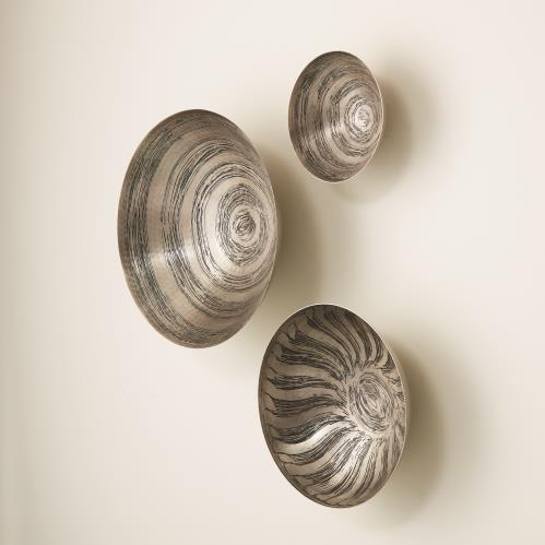 S/3 Sun Etched Wall Bowls - Antique Nickel