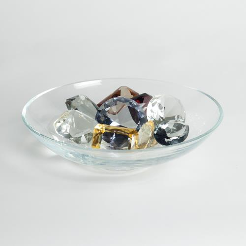 Clear Bowl with 9 Oxford Jewels-1 of Each Color
