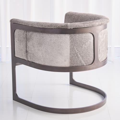 Regan Barrel Chair - Grey Hair-on-Hide-Antique Gunmetal