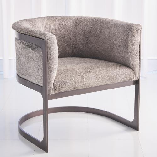 Regan Barrel Chair - Grey Hair-on-Hide-Antique Gunmetal