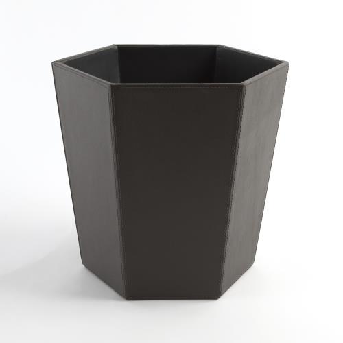 Tiffany Wastebasket-Graphite Leather