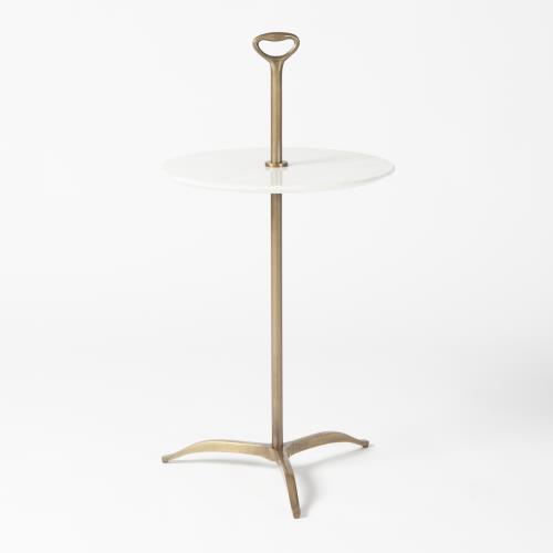 Chloe Table-Light Antique Brass/White Marble