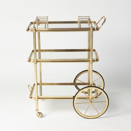English Bar Cart and Tea Trolley-Brass