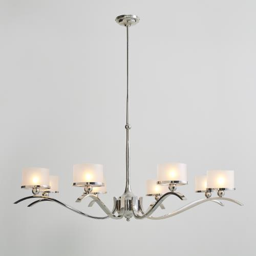 French Curve Chandelier-Nickel