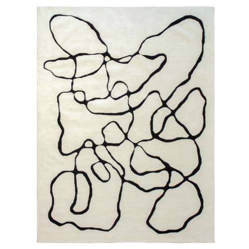Squiggle Rug-Ivory/Black