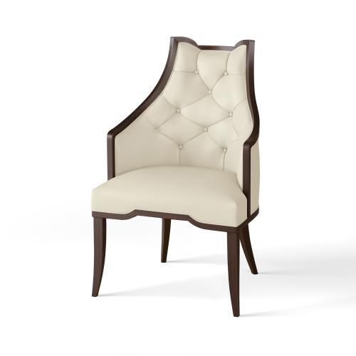 Logan Arm Chair-Walnut-Milk Leather