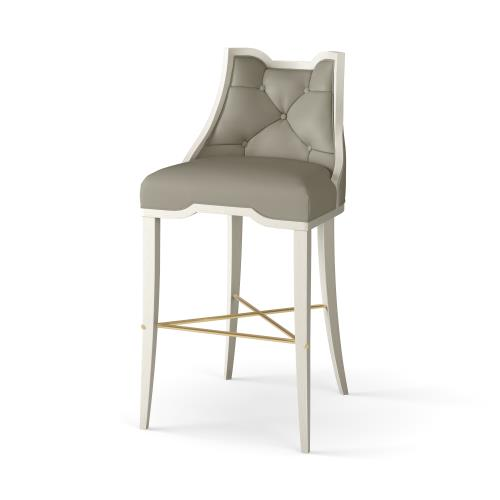 Logan Bar Stool-Antique White-Chesterfield Grey Leather