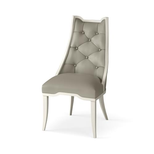 Logan Dining Chair-Antique White-Chesterfield Grey Leather