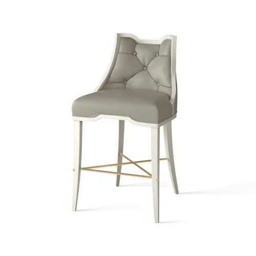Logan Counter Stool-Antique White-Chesterfield Grey Leather