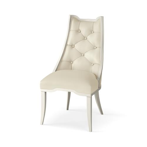 Logan Dining Chair-Antique White-Milk Leather